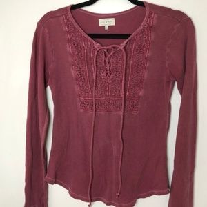 Lucky Brand Rose Crochet Bib Thermal Top
